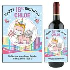 Personalised Unicorn Happy Birthday Wine Champagne Bottle Label N156 ANY AGE