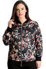 New Womens Plus Size Bomber Jacket Ladies Leaf Print Ribbed Zip Closure Sale