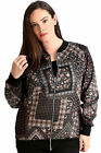 New Womens Plus Size Bomber Jacket Ladies Geometric Floral Print Ribbed Zip Long