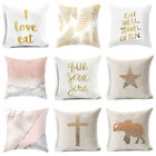 Внешний вид -  18'' Golden letters Cotton Linen Pillow Case Sofa Cushion Cover Home Decor
