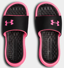 Under Armour Playmaker Fixed Women's Slides Sandals, Pink/Black 3000063 NEW!