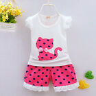 2PCS Toddler Kids Baby Girl Outfit Set Summer Tee Tops + Shorts Pants Clothes