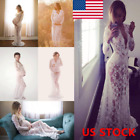 Pregnant Women Lace Maternity Long Gown Maxi Deep V Neck Dress Photography Props