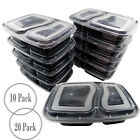2 COMPARTMENT STACKABLE FOOD CONTAINER STORAGE BOX  PLASTIC LID LUNCH MEAL PREP