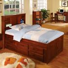 Discovery World Furniture Merlot Bookcase Captains Bed Twin with 6 Drawer Dresse