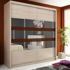 Wardrobe WIKI 180 Oak Sonoma 2 Sliding Doors Hanging Rail New