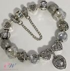 Silver Plated Charm Bracelet with Pearl Grey & Silver Charms