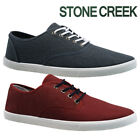 MENS STONE CREEK LACE TRAINERS CASUAL CANVAS SKATES PUMPS SHOES PLIMSOLLS SIZE