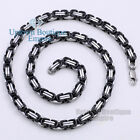 "18-36"" Black Silver Stainless Steel Byzantine Box Chain Necklace Men's  01-8"