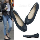 AnnaKastle Womens Round Toe Genuine Leather Comfort Ballet Flat Shoes Navy