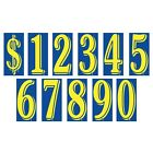 8 1/2 Inch Yellow & Blue Numbers Windshield Stickers Car Dealer You Pick