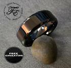 mens promise bands - Personalized Engraved Black Stainless Mens or Womens Wedding Promise Band Ring