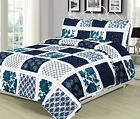 Twin, Queen, or King Quilt Patchwork Navy Blue White Teal Bedspread Bedding Set image