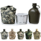 ES  3Pcs Military Style 1L Water Drinking Bottle + Canteen Cover + Water Cup Dul