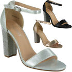 Womens Ladies Ankle Strap Diamante Chunky Block Heel Party Sandals Shoes Size