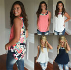 UK Plus Size Womens Loose Floral Vest Ladies Holiday Summer Tops T-Shirt Blouse