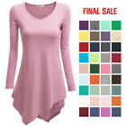 [FINAL SALE]Womens Long Sleeve V-Neck Tunic Handkerchief Longline T-Shirt Dress