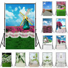 3x5ft/5x7ft Snflowers & Green Wall Photography Background Flowers Photo Backdrop