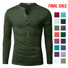 [FINAL SALE]Doublju Mens Basic Slim Fit Long Sleeve Henley Shirts