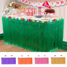 9ft Tropical Hawaiian Luau Table Grass Skirt with Flower BBQ Party Decora Colors