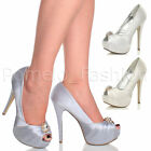 WOMENS LADIES BRIDAL WEDDING PEEP TOE HIGH HEEL PLATFORM SANDALS SHOES SIZE