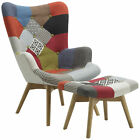 Patched Fabric Armchair Sofa Seat Tub Club Chair with Footstool