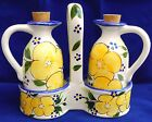 Vintage Painted Ceramic Art Pottery Set of Large Oil and Vinegar w Basket
