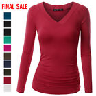 Внешний вид - [FINAL SALE]Thanth Women's Deep V-Neck Long Sleeve Shirring Drape Shirts
