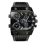 Oulm Leather Men Three Time Stainless Steel Army Sport Analog Quartz Wrist Watch image