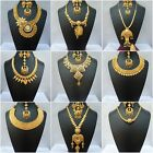 Indian 22k Gold Plated Wedding Necklace Earrings Jewelry Variations Tikka Set D.