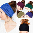 Women Soft Elastic Stretch Wide Hairband Yoga Headband Turban Running Head Wrap