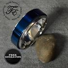 mens promise bands - Personalized Engraved Beveled Blue Spinner Mens Wedding or Promise Band Ring