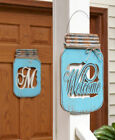Внешний вид - MONOGRAM Letter or WELCOME Mason Jar Door Hanger Country Rustic Distressed Decor