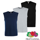 3 x Fruit Of The Loom MEN'S TANK TOP SUMMER SLEEVELESS T-SHIRT GYM COLOURS PACK