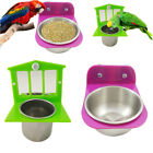 Pet Parrot Bird Mirror+  Cup Feeder Food Container Cage Hanging Stand Toy