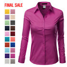 oldl navy - [FINAL SALE]Doublju Womens Long Sleeve Cotton Button Down Collared Shirt