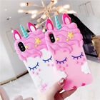 3D Hot New Shy unicorn Cartoon Phone Case Cover Soft Silicone For Various Phones