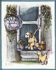 Wipe Your Paws Gold Tabby Cat & Kitten Porch Roses Flowers Wall Art Print
