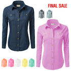 [FINAL SALE]Doublju Womens Simple Long Sleeve Button Down Cotton Shirts