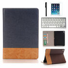 "Apple iPad 12.9""/9.7"" Leather Case Card Wallet Folio Smart Cover+White Keyhboard"