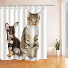 Cute Cat and Pet Dog on White 71 Inch Waterproof Fabric Shower Curtain & 12 Hook