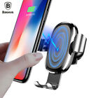 Baseus Car Mount Qi Wireless Charger For iPhone X 8 Plus S9