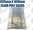 CLEAR POLYPROPYLENE GUSSETED SACKS 1575MM X 1070MM 40mu LARGE SHIPPING BAGS