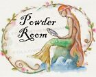 Mermaid Powder Room Looking Glass Red Roses Nautical Wall Art Print