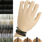 Leather Cord Multi Wrap Bracelet Custom Handmade 72 inches Black Gray White USA