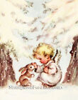Counted Cross Stitch Pattern ~ Baby Angel & Bunny ~ Christmas, Winter, Snow