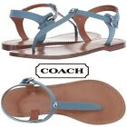 COACH T-Strap Women's Sandals Casual Summer Dress Thong Designer Leather NIB