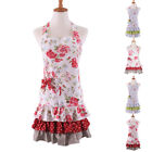 Women Girl Floral Ruffle Kitchen Restaurant Cooking Apron With Pocket