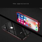 Magnetic Metal Shockproof Bumper Frame Glass Back Cover Case For iPhone X 8 Plus