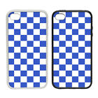 Chequerboard - Blue - Rubber and Plastic Phone Cover Case #2